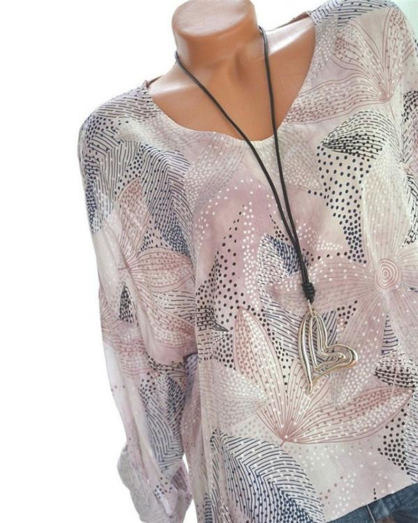 Fashion Women Floral Printed Crew Neck Blouse Tops
