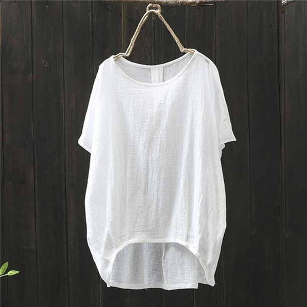 Women Batwing Sleeve Cotton Asymmetrical Blouse