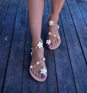 Women Boho Sandals Casual Flower Plus Size Shoes - nayachic