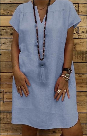 V Neck Short Sleeve Plain Shift Dresses - nayachic