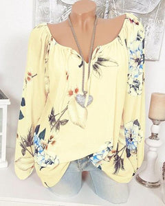 V Neck Elegant  Women Floral Printed Tops