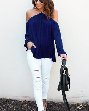 Sexy Off Shoulder Solid Color Long Sleeve Blouse - nayachic