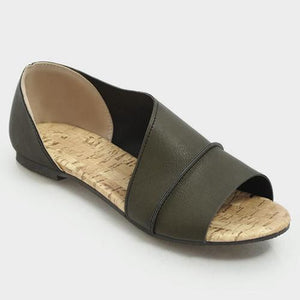 Solid Slide Round Toe Sandals
