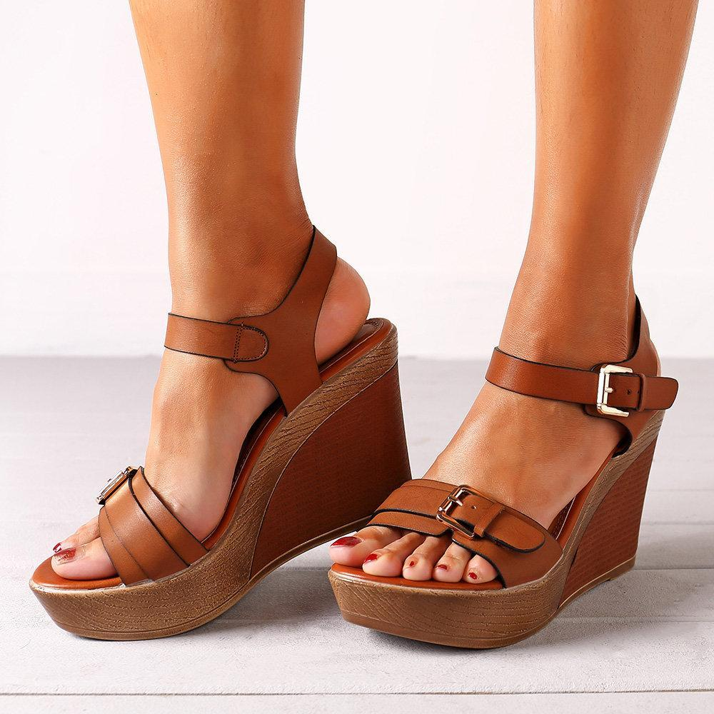 Women Single Breasted Buckle Strap High Heels Wedges Sandals - nayachic