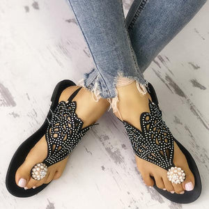 Sequins Embellished Hollow Out Toe Post Sandals - veooy