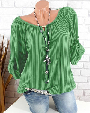 Striped Printed Casual Plus Size Women Blouse Tops