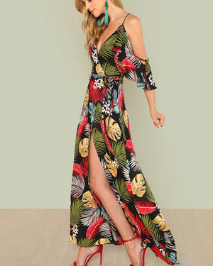 Women Summer V Neck Swing Beach Casual Floral Printed Dresses - nayachic