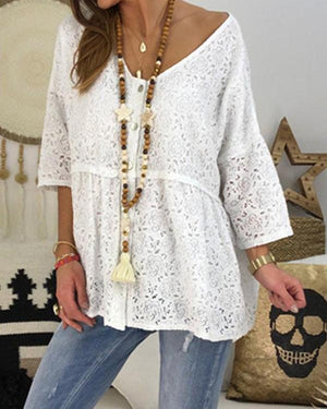 Lace Button Solid Color V Neck Casual Blouses Tops - nayachic