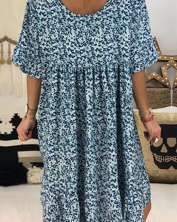 Casual Floral Printed Crew Neck Short Sleeve Plus Size Dress - nayachic