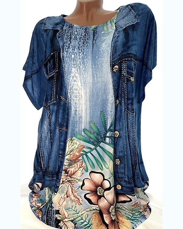 Women's Plus Size 3D Floral Printed Loose Shirt - nayachic