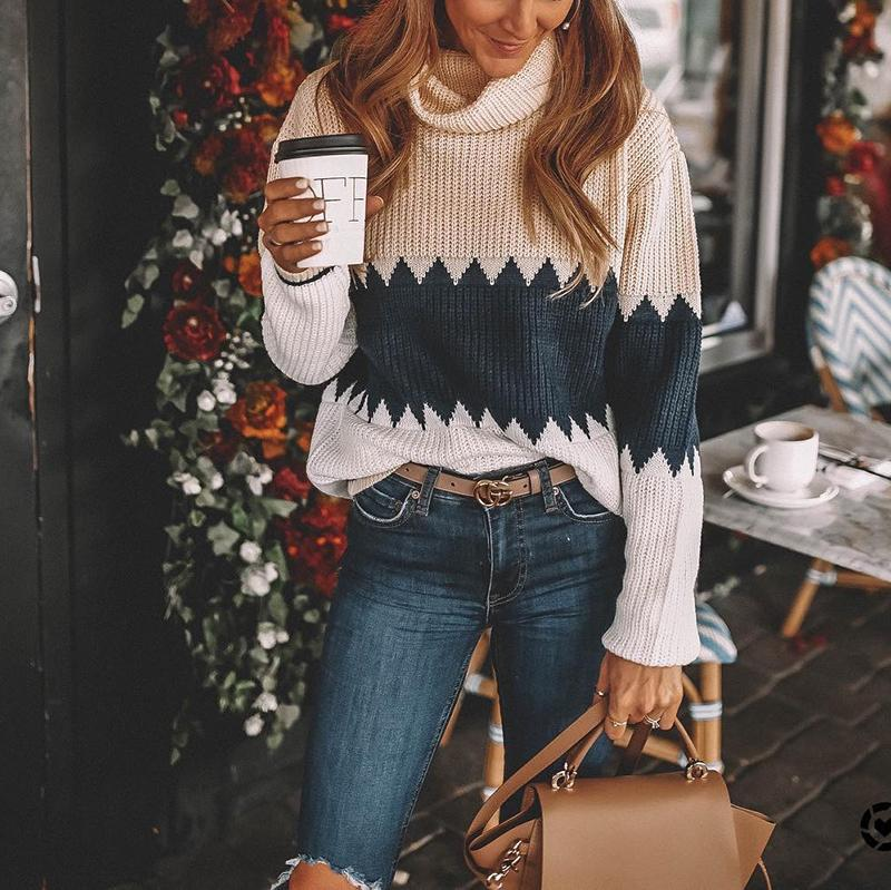 Casual High Neck Brocade Sweater