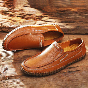 Large Size Men Hand Stitching Comfy Soft Sole Slip On Leather Loafers - nayachic