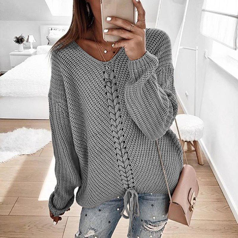 Women Casual Solid Color V-neck Crossover Bandwidth Long Sleeve Sweater