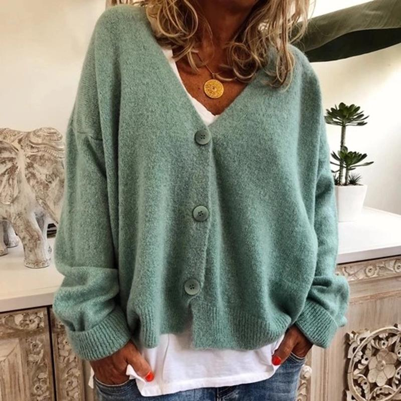 Women casual brief solid colour v neck soft sweater cardigan