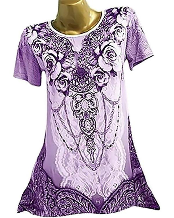 Plus Size Printed Round Neck Short Sleeve Women Blouse - veooy