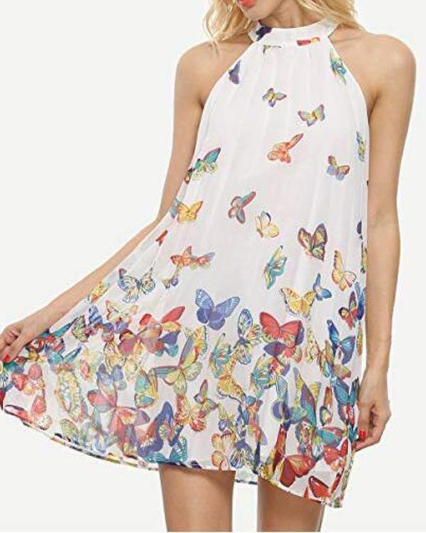 Butterfly Printed Sleeveless Women Halter Chiffon Dresses - veooy