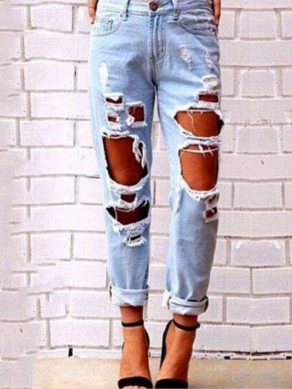 Women 2018 Fashion Sexy Hole Denim Jeans Denim Pants