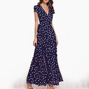 Women Deep V Neck  Belt  Print  Short Sleeve Maxi Dresses
