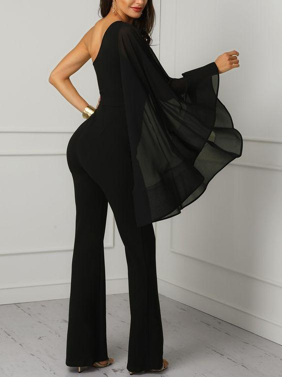 Women Casual Sexy  Off The Shoulder Single Sleeve Pure Color   Bell Bottoms Jumpsuit