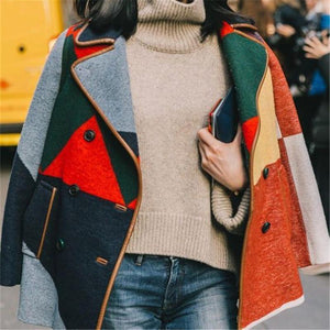 Women Autumn And Winter   Fashion Spelling Jacket