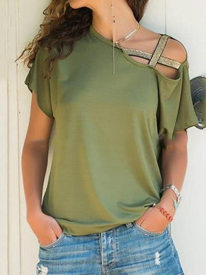 Women Casual Pure Color Irregular Short Sleeve Shirt