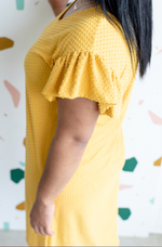 Dotty Sunshine Ruffle Sleeve Dress - Leina Shine