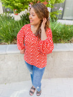 Roxy Red Lantern Sleeve Blouse