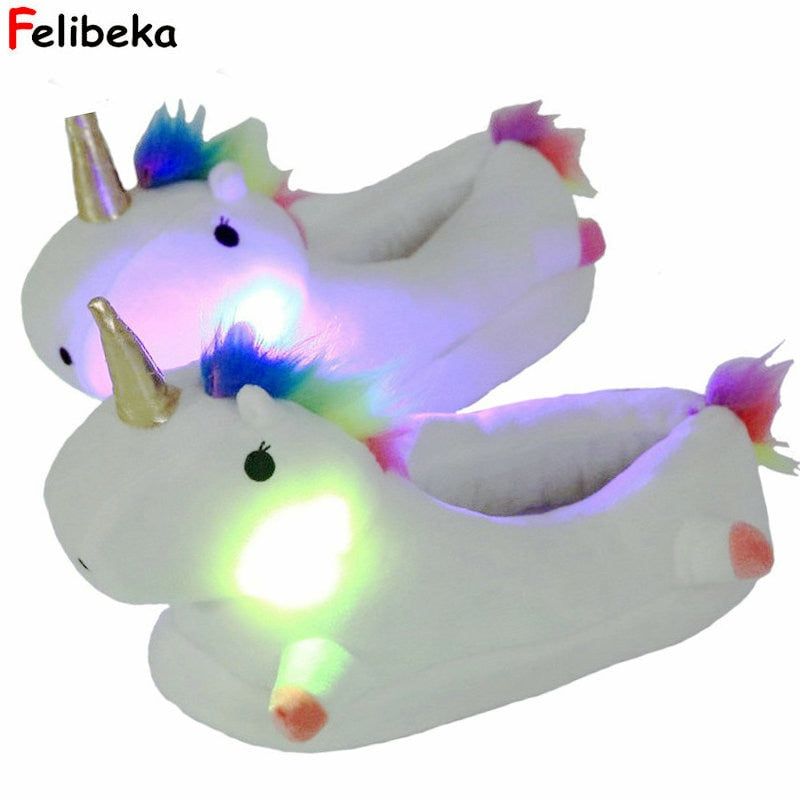 unicorn glowing slippers for women