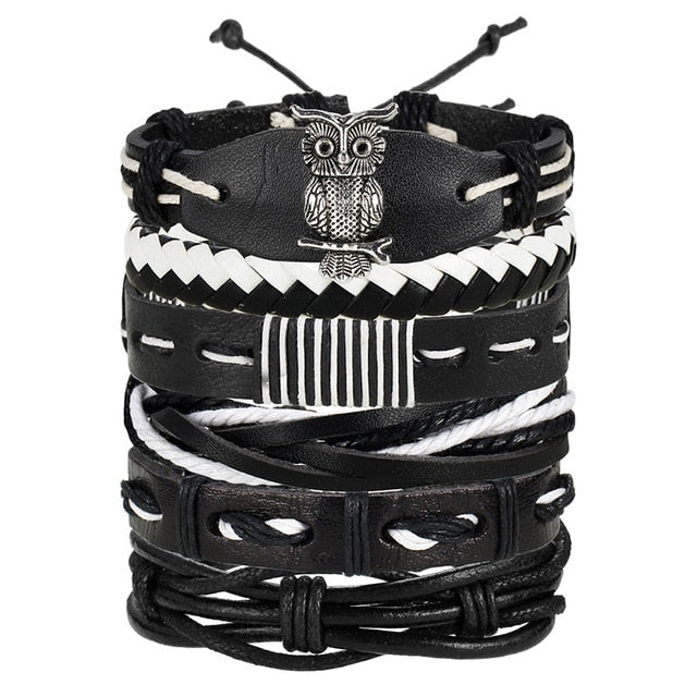 Vintage Multilayer Bracelet Bangles Rope Wrap for Men