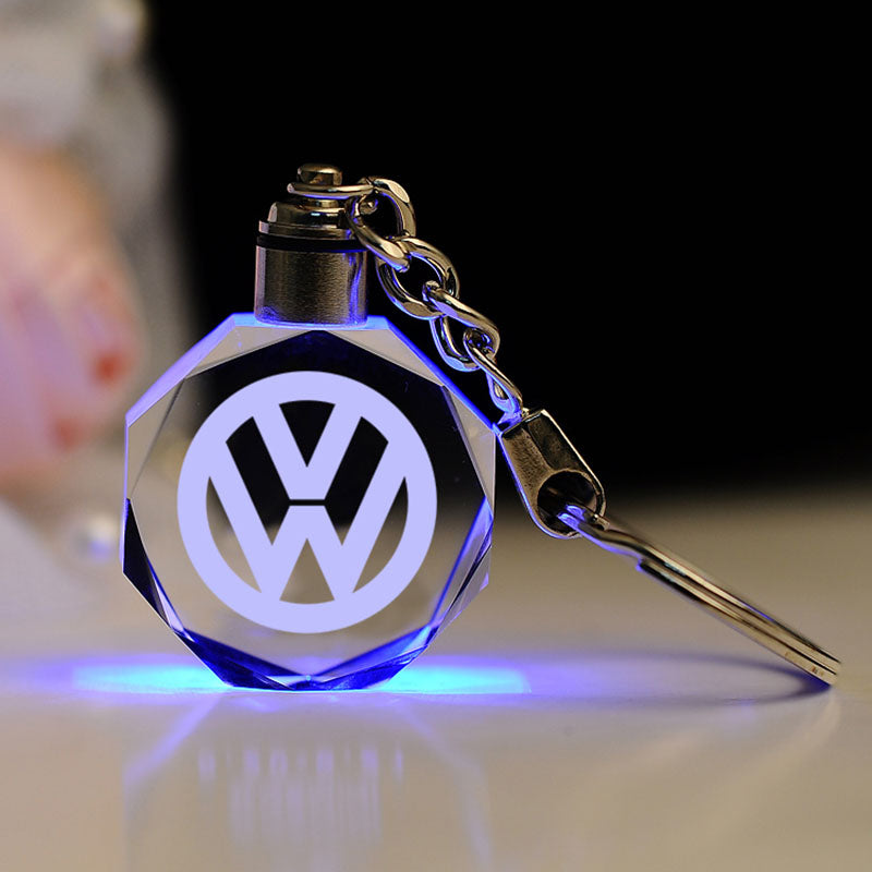 Led Light Crystal Car Motorcycle Logo Key chain  Souvenir Gift