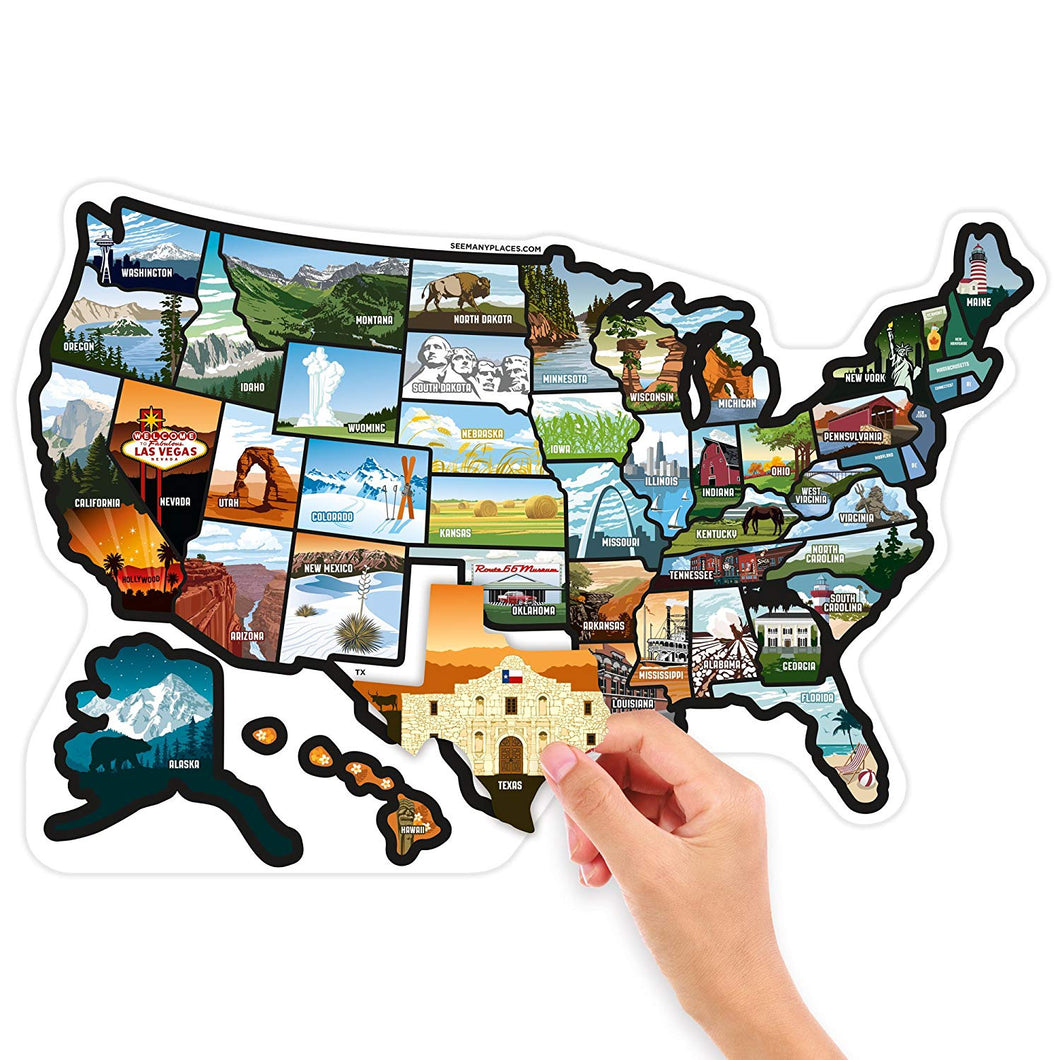 See Many Places US Illustrated Decal Sticker Map