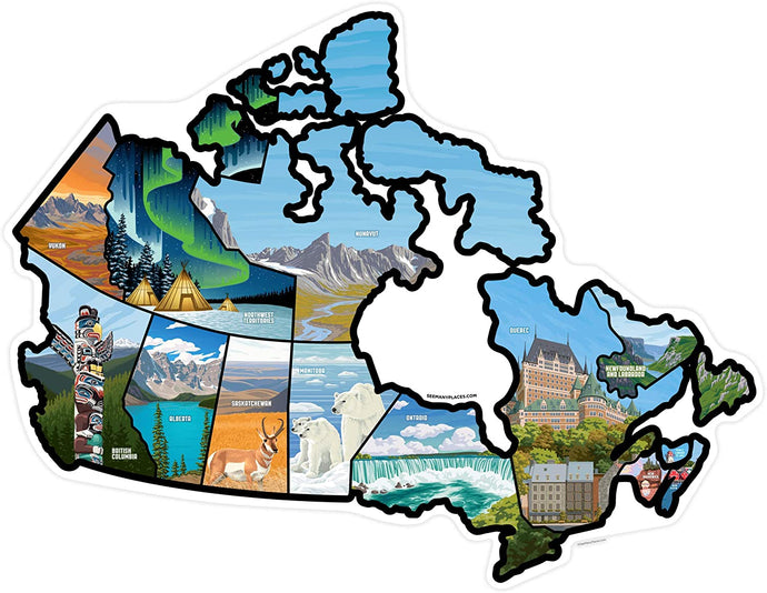 See Many Places Canada Illustrated Decal Sticker Map