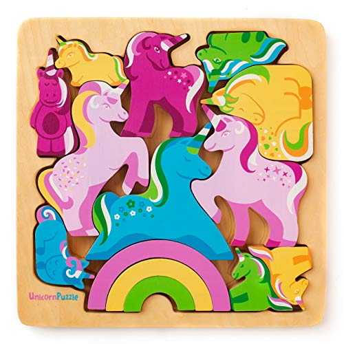 Wooden Puzzle - Unicorn Jigsaw Puzzle for Toddlers 1-3 and Kids 3-5 Best Chunky Wood Puzzles for Learning and Nurturing Motor Skills
