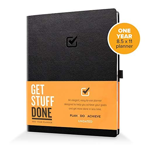 "1 Year Undated Daily Planner, 8.5"" x 11"" :: Productivity Planner and Organizer for Goal Setting & More, with Easy to Follow Guide Book :: Smart Layout, Sturdy Construction"