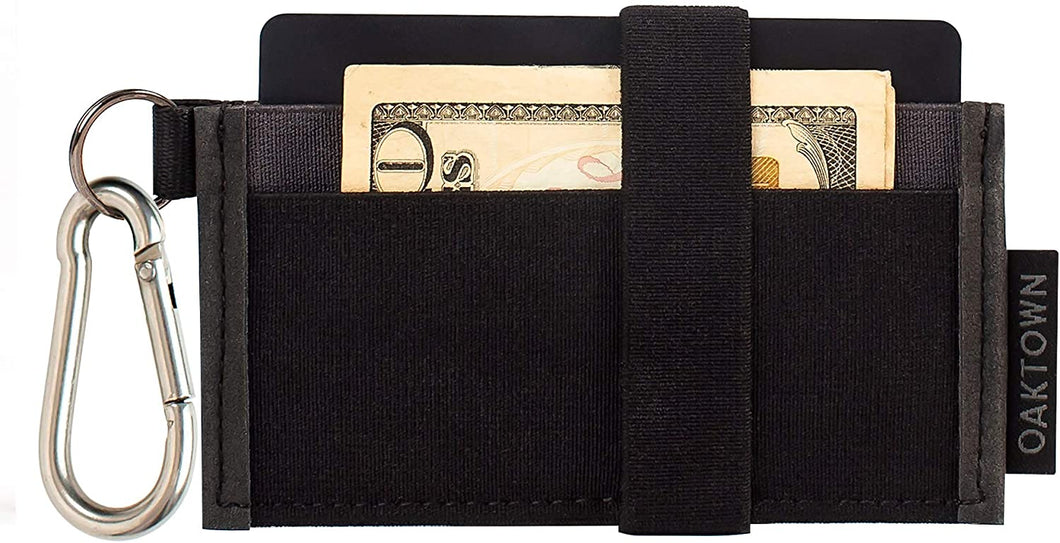 Minimalist Wallet - Slim Front Pocket Wallets For Men With Removable Key-chain Carabiner - Best Thin Wallet For Credit Card And Cash Organization
