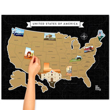 Load image into Gallery viewer, See Many Places US Gold Scratch Off Map Poster
