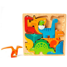 "Load image into Gallery viewer, DinoPuzzle Wooden 3-D Dinosaur Puzzle for Toddlers & Kids Age 3+ 11""x 11"" x .5"""