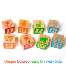 "Load image into Gallery viewer, ABC Wooden Building Blocks for Baby. Large (1 ¾"" ) Jumbo Size w/ Letters, Numbers (1, 2, 3, etc) and Pictures. Stacking Wood Toy for Toddlers that Creates Hours of Engaging, Educational Play"