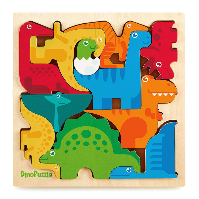 DinoPuzzle Wooden 3-D Dinosaur Puzzle for Toddlers & Kids Age 3+ 9
