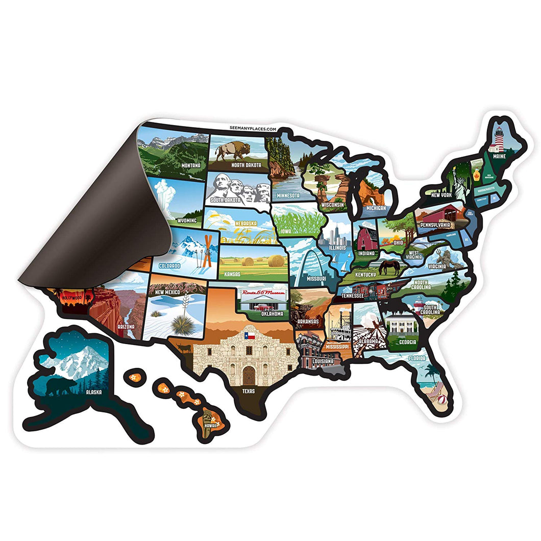 See Many Places US Illustrated Magnet Sticker Map