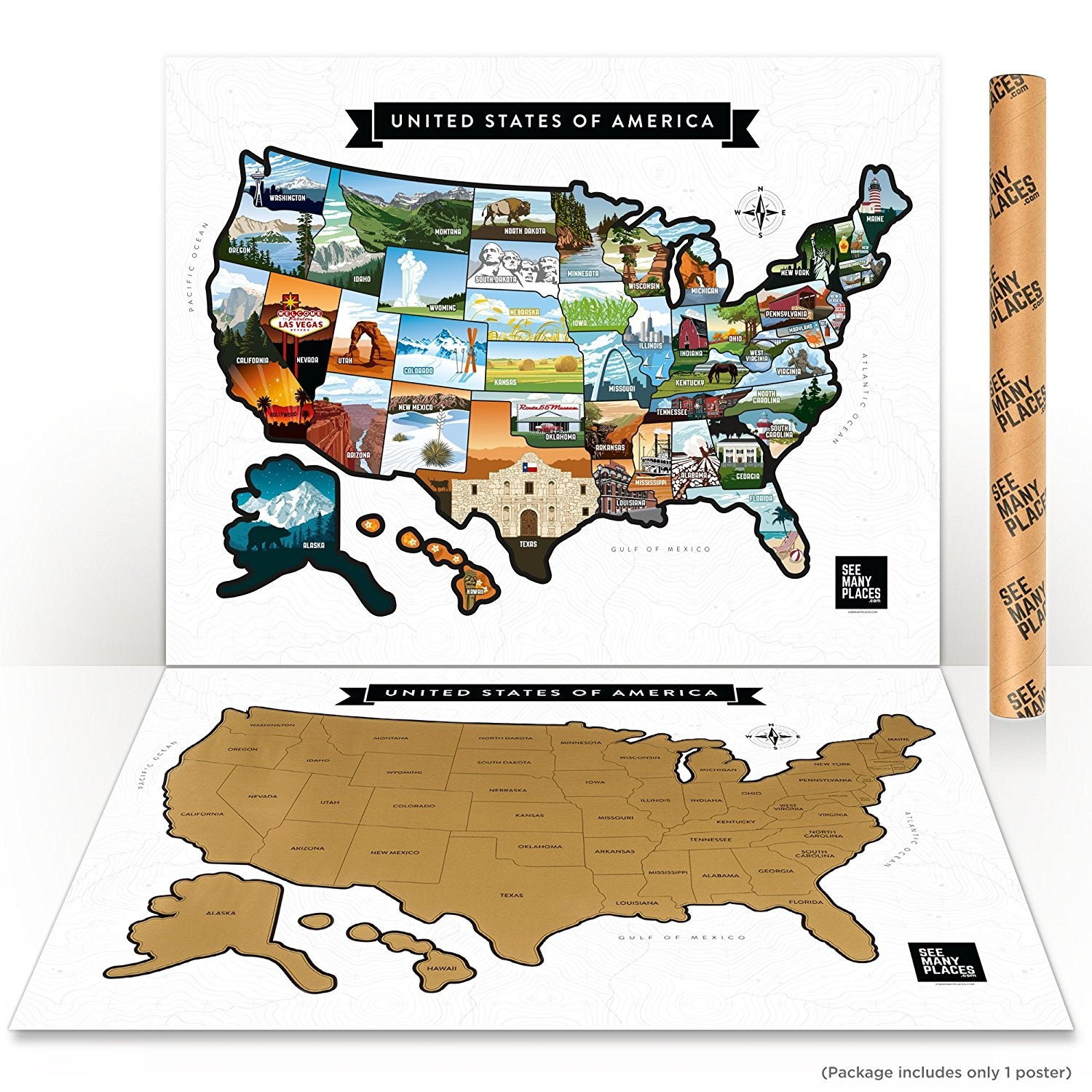 See Many Places US Scratch Off Map Poster 28\