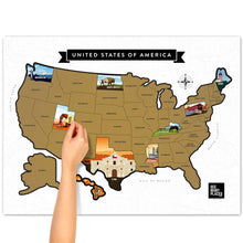 "Load image into Gallery viewer, See Many Places US Gold Scratch Off Map Poster 28"" x 22"""