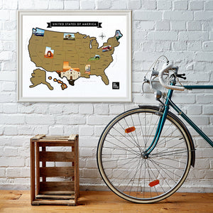 "US Scratch Off Map Poster 28"" x 22"""