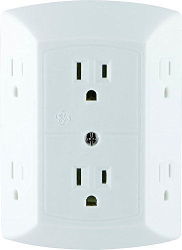 GE 6 Outlet Wall Plug Adapter Power Strip, Extra Wide Spaced Outlets for Cell Phone Charger, Power Adapter, 3 Prong, Multi Outlet Wall Charger, Quick & Easy Install, For Home Office, Home Theater, Kitchen, or Bathroom, UL Listed, White, 50759