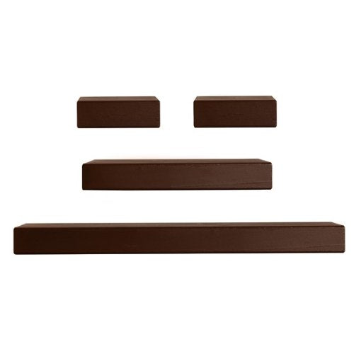 MELANNCO Walnut Floating Chunky Ledge Set, Set of 4