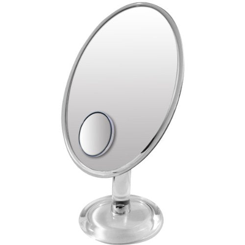 Rucci Magnetized Oval Foldable Mirror with Round Insert Mirror, 10X