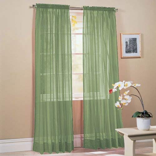 "2 Piece Solid Sage Green Sheer Window Curtains/drape/panels/treatment 58"" x 84"""