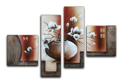 Wieco Art 4-Piece Elegant Flowers Stretched and Framed Hand-Painted Modern Canvas Wall Art