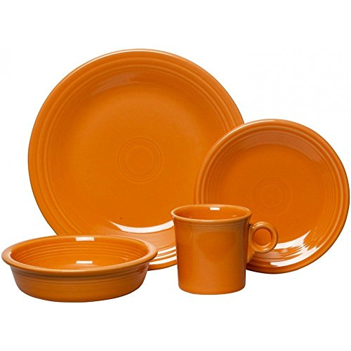 Fiesta Dinnerware - 4 Piece Place Setting - Tangerine Orange