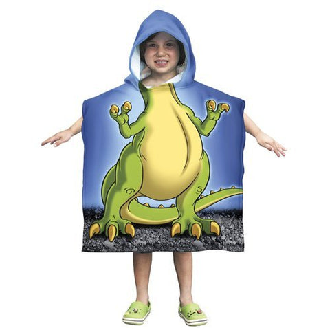 Kids T-Rex Dinosaur Cotton Hooded Poncho Bath/Beach Towel